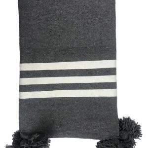 COTTON POM POM STRIPE BLANKET, CHARCOAL