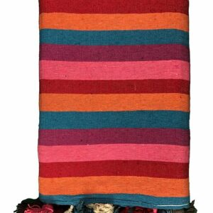 COLORFUL STRIPE POM POM BLANKET from Morocco