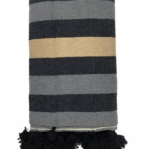 Cotton Stripe Throw Blanket, Gold Black Grey