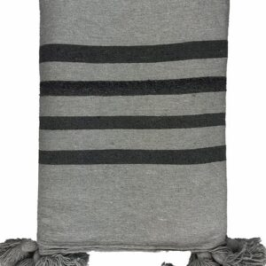 POM POM BLANKET, GREY AND BLACK