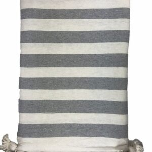 Striped Pom Pom Blanket, White and Grey color